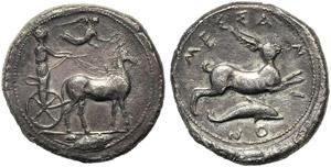 Sicily, Messana, Tetradrachm, c. 425-396 BC; ...