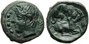 Sicily, Piakos, Tetras, c. 425-420 BC; AE (g ...