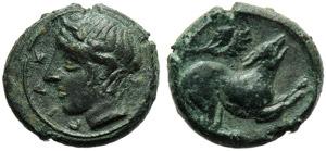 Sicily, Piakos, Onkia, c. 425-420 BC; AE (g ...