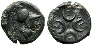 Apulia, Samadion, Bronze, c. 200-150 BC; AE ...