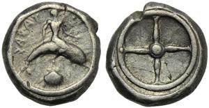 Apulia, Tarentum, Nomos, c. 480-470 BC; AR ...