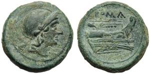 Anonymous, Quartuncia, Rome, 217-215 BC; AE ...