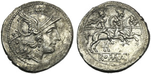 Anonymous, Denarius, Rome, after 215-214 BC; ...