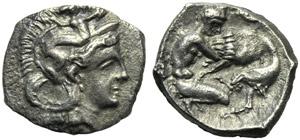 Apulia, Tarentum, Diobol, c. 380-325 BC; AR ...