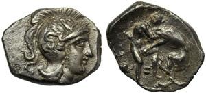Apulia, Tarentum, Diobol, 325-280 BC; AR (g ...