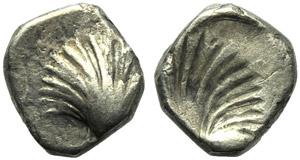 Apulia, Tarentum, Brockage Obol, c. 325-280 ...