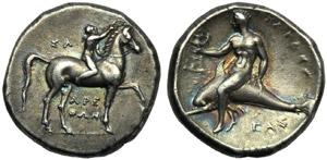 Apulia, Tarentum, Nomos, c. 302-280 BC; AR ...
