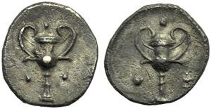 Apulia, Tarentum, Diobol, c. 302-228 BC; AR ...