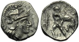Apulia, Tarentum, Diobol, c. 280-228 BC; AR ...