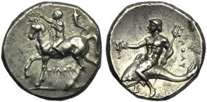 Apulia, Tarentum, Nomos, c. 272-240 BC; AR ...