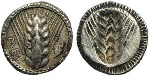 Lucania, Metapontion, Obol, c. 540-510 BC; ...