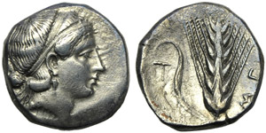 Lucania, Metapontion, Stater, c. 400-340 BC; ...