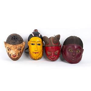FOUR PAINTED WOOD HELMET MASKES Yoruba26 cm ...