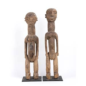TWO WOOD SCULPTURES OF A COUPLE Lobi60 and ...