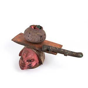 A PAINTED WOOD HELMET MASKYoruba27 cm ...