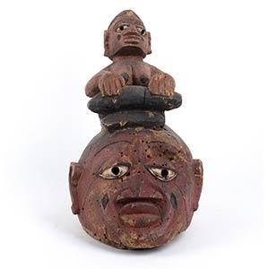A PAINTED WOOD HELMET MASK Yoruba27 cm high ...