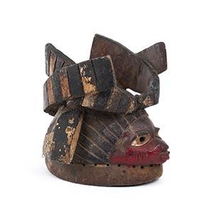 A PAINTED WOOD HELMET MASK Yoruba24,5 cm ...
