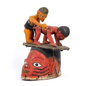 A PAINTED WOOD HELMET MASK Yoruba40 cm ...