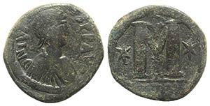 Justin I (518-527). Æ 40 Nummi (31mm, ...