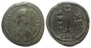 Justinian I (527-565). Æ 10 Nummi (23.5mm, ...
