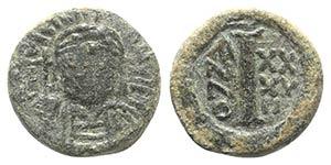 Justinian I (527-565). Æ 10 Nummi (14mm, ...