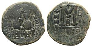 Justin II (565-578). Æ 40 Nummi (29mm, ...
