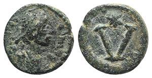 Justin II (565-578). Æ 5 Nummi (11mm, ...