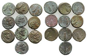 Lucania, Metapontion, lot of 10 Æ coins, to ...