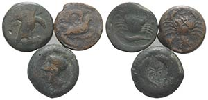 Sicily, lot of 3 Greek Æ coins, including ...