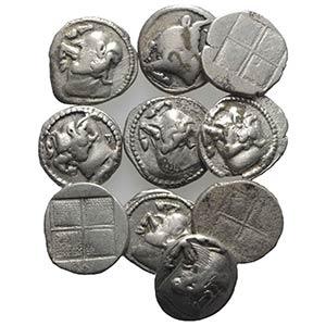 Macedon, Akanthos, lot of 10 AR Tetrobols, ...