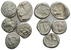 Asia Minor, lot of 5 AR Staters, to be ...