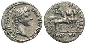 Tiberius (14-37). AR Denarius (18mm, 3.91g, ...