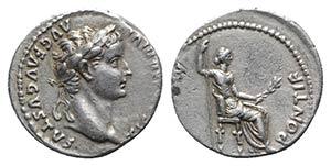 Tiberius (14-37). AR Denarius (17mm, 3.74g, ...