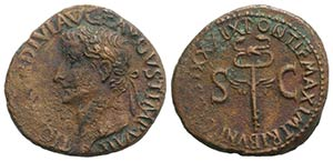 Tiberius (14-37). Æ As (28mm, 10.83g, 6h). ...