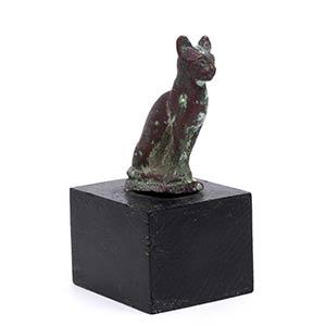 Statuetta bronzea di gatto Egitto Tolemaico, ...