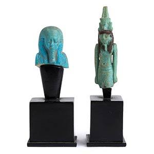 Coppia di amuleti in faience: Nefertum e ...