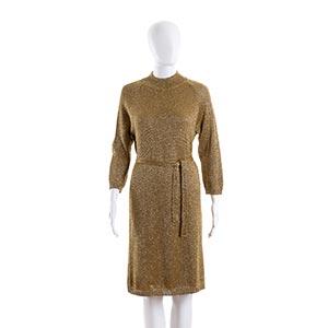 LAURA APONTE DRESSMid 60sGold lurex wool ...