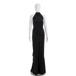 ROSA, ROMA DRESS30sA black silk moirè ...