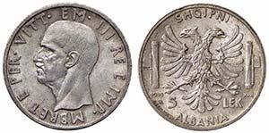Albania - 5 Lek - 1939 XVII   - AG Pag. 992; ...