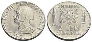 Albania - 2 Lek - 1939 XVIII   - AC Pag. ...
