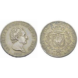 Carlo Felice (1821-1831) - 5 Lire - 1826 T   ...