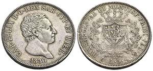 Carlo Felice (1821-1831) - 5 Lire - 1830 T ...