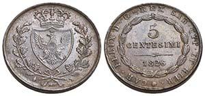 Carlo Felice (1821-1831) - 5 Centesimi - ...