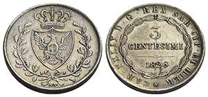 Carlo Felice (1821-1831) - 3 Centesimi - ...