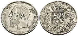 BELGIO - Leopoldo II (1865-1909) - 5 Franchi ...
