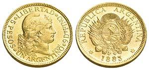 ARGENTINA - Repubblica - 5 Pesos - 1883   - ...