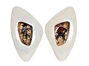 LUIGI CARRON - ALCYONE  Two shiny ceramic ...