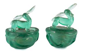 ITALIAN MANUFACTURE  Two green Murano glass ...