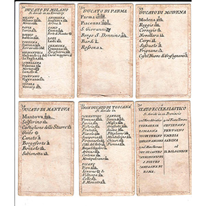 Cards with Italy's kingdoms and princedoms ...