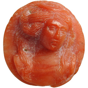 A carved Coral bust of a Lady 18th century; ...